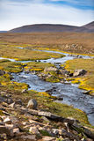 Iceland Landscape with River, Mountains and Bright Blue Sky Stock Images