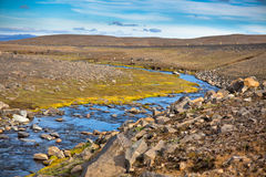 Summer Iceland Landscape with Small River Stream Royalty Free Stock Photography