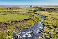 Summer Iceland Landscape with Small River Stream Stock Photos