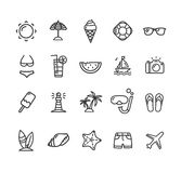 Summer Icon Black Thin Line Set. Vector Royalty Free Stock Photos