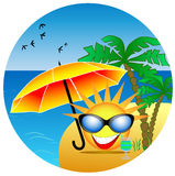 Summer icon. The funny sun icon on the island Stock Photography