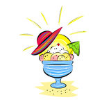 Summer icon with ice cream Stock Images