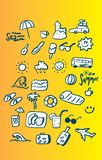 Summer icon set. Color vector illustration Royalty Free Stock Photography