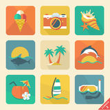 Summer icon set 2. Flat design trend. Retro color. Vector illustration.