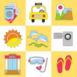 Summer icon set. Flat design trend. Vector illustration. Stock Image