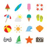 Summer Icon Set - Flat Outline Royalty Free Stock Images