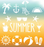 Summer icon set on mesh background Stock Photography