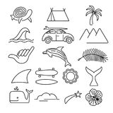 Summer beach surf icon set in line art style Stock Images