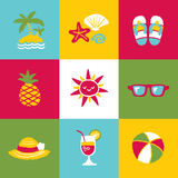 Summer Icon Set and Signs Royalty Free Stock Photography