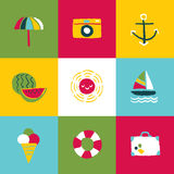 Summer Icon Set and Signs Stock Photography