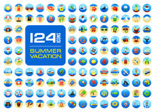 Summer icon set. Summertime. Vacation Stock Photos