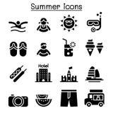 Summer icon set. Vector illustration graphic design Stock Photos