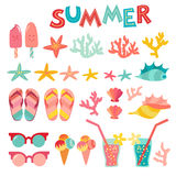 Summer icon set on white background. Sea, vacation,  shells, coral Stock Images