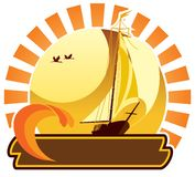 Summer icon - yacht Royalty Free Stock Image