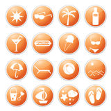 Summer icons Stock Images