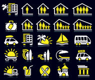 Summer icons. Set of white and yellow summer icons Stock Photo
