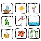 Summer icons Royalty Free Stock Photos