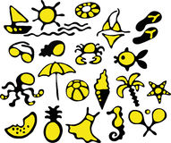 Summer icons. Large amount of simple summer icons Stock Photography