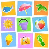 Summer icons Royalty Free Stock Images