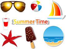 Summer icons. Vector set with summer icons Stock Photography
