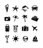 Summer Icons. Icons representing summer, travelling and relaxing on the beach