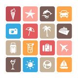 Summer Icons. Icons representing summer, travelling and relaxing on the beach Royalty Free Stock Photo