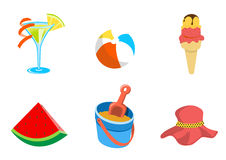 Summer icons. Vector illustration of summer icons. Includes cocktail, ball, heat, ice-cream, watermelon and sand bucket Royalty Free Stock Image