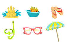 Summer icons. Vector illustration of summer icons. Includes sand castel, boat, flip-flop, snorkel, sunglasses and umbrella Stock Photos