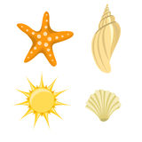 Summer icons. Vector illustration of summer icons. Includes sun, starfish and  sea shelld Stock Images