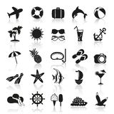 Summer icons in black and white. Summer icons on white background Royalty Free Stock Image