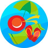 Summer icons of blue sea background. Illustration Royalty Free Stock Photography