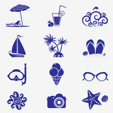 Summer icons blue Stock Photography