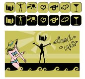 Summer icons card. With woman and web button vacation. Summer banner, vector illustratration vector illustration