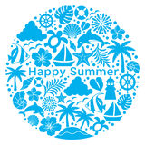 Summer icons in circle. Royalty Free Stock Photography