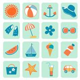Summer icons collection. Colorful summer icons collection. Vector illustration Stock Photos