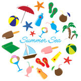 Summer Icons Doodle Set. Vector Illustration in round Stock Image