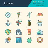 Summer icons. Filled outline design collection 20. For presentat. Ion, graphic design, mobile application, web design, infographics. Vector illustration Stock Photo