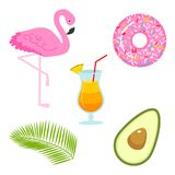 Summer icons. flamingo and drink, avocado and tropical palm. Fun sticker for Girl, fashion cute patch, badge, pin. Collection different elements for notebook Stock Photography