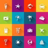 Summer Icons Flat Design Stock Image