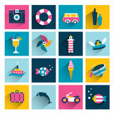 Summer icons. Flat long shadow color design Stock Photography