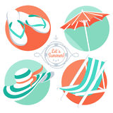 Summer icons: flip floppers, hat, beach umbrella and chair. Vector Illustration Summer icons: flip floppers, hat, beach umbrella and chair stock illustration