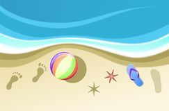Summer icons and footprints. Images, icons and sensations of a seaside summer Stock Photo