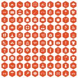 100 summer icons hexagon orange. 100 summer icons set in orange hexagon isolated vector illustration Stock Photo