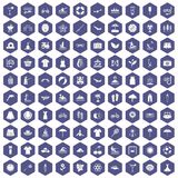 100 summer icons hexagon purple. 100 summer icons set in purple hexagon isolated vector illustration Stock Photos