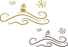 Summer icons (I): Ocean. Simple summer icon in line-art style (and two color versions): Boat, sun and ocean waves Royalty Free Stock Photos