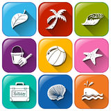 Summer icons. Illustration of the summer icons on a white background Royalty Free Stock Image