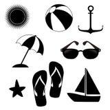 Summer icons monochrome Stock Photos