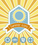 Summer icons. Over yellow background. vector illustration Stock Photography