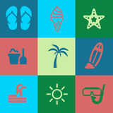 Summer Icons Pack Stock Images