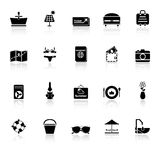 Summer icons with reflect on white background Royalty Free Stock Image